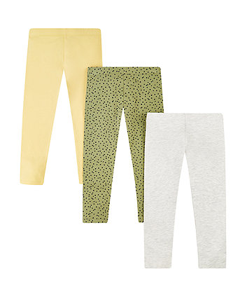 Mothercare Grey, Yellow And Spot Leggings - 3 Pack