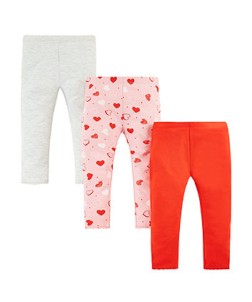 Mothercare Grey, Red And Pink Heart Leggings - 3 Pack