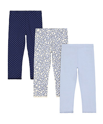 Mothercare Blue Spotted Leggings - 3 Pack