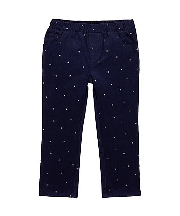 Navy Glitter Print Cord Trousers