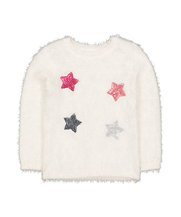 Mothercare Cream Sequin Stars Eyelash Jumper