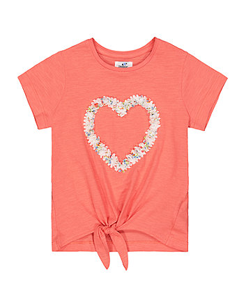 Mothercare Pink Heart Tie-Hem T-Shirt