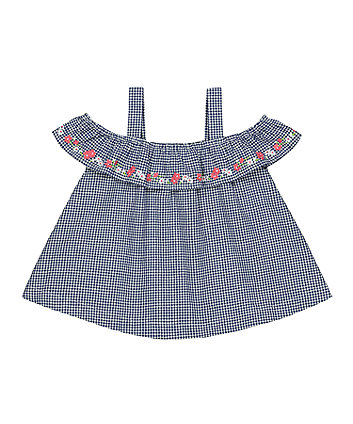 Mothercare Floral Gingham Cold-Shoulder Blouse