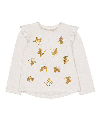 Mothercare Grey Sequin Cat T-Shirt