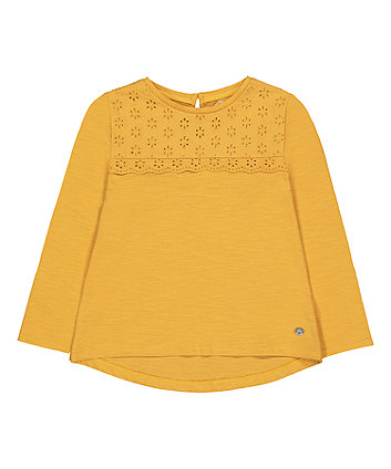 Mothercare Mustard Broderie T-Shirt