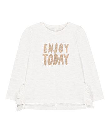 Mothercare White Glitter Enjoy Today T-Shirt