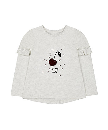 Mothercare Grey Marl Sequin Cherry T-Shirt