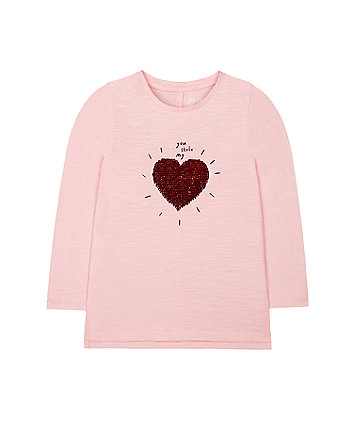 Mothercare Pink Sequin You Stole My Heart T-Shirt