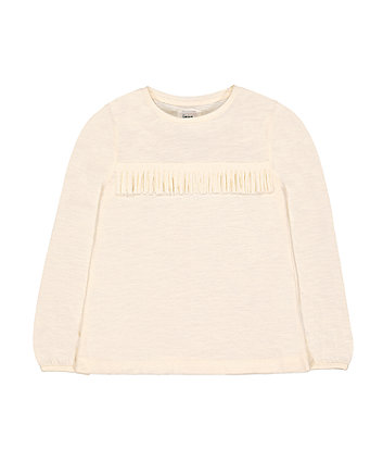 Mothercare Cream Fringing T-Shirt