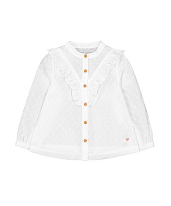 Mothercare Cream Dobby Frill Blouse