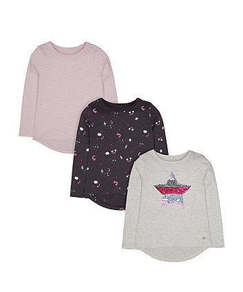 Mothercare Sequin Star, Rainbow And Lilac T-Shirts - 3 Pack