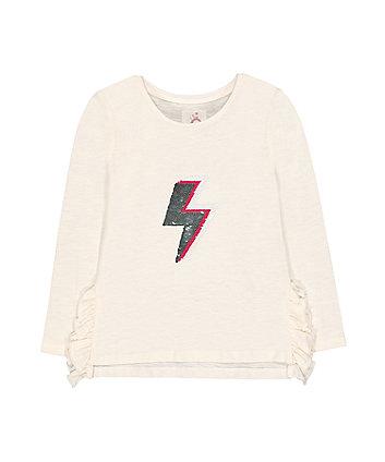 Cream Reversible Sequin Lightning Bolt T-Shirt
