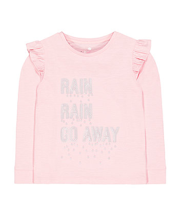 Mothercare Pink Sequin Rain Go Away T-Shirt