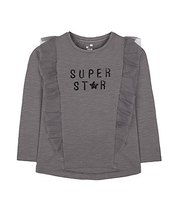 Mothercare Charcoal Mesh Frill Super Star T-Shirt