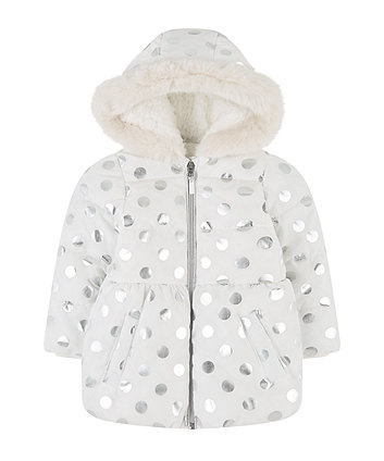 Mothercare Foil Spot Padded Coat With Borg Lining
