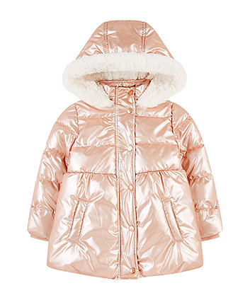 Mothercare Shiny Pink Padded Borg-Lined Coat