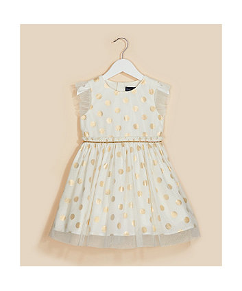 Mothercare Cream And Gold Spot Mesh Prom Dress