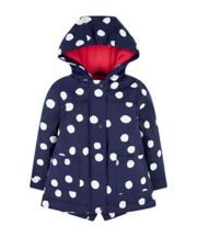Mothercare Navy Spot Mac With Fleece Lining