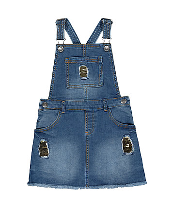 Mothercare Denim Sequinned Pinny Dress