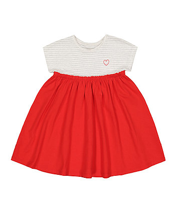 Mothercare Stripe And Red High-Waist Twoffer Dress