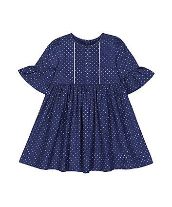 Mothercare Pinspot Flute Dress - Blue