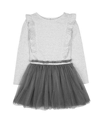 Grey And Charcoal Stripe Tutu Twofer Dress