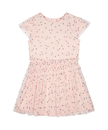Mothercare Pink Stars Mesh Twofer Dress