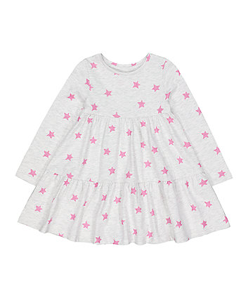Mothercare Grey Glitter Pink Stars Tiered Dress