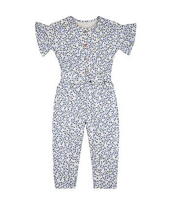 Mothercare Floral Jumpsuit - Blue/White