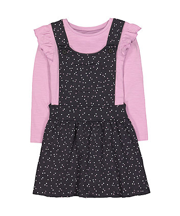 Mothercare Charcoal Star Pinny And Lilac T-Shirt Set