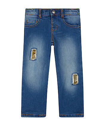 Mothercare Blue Sequin Patch Jeans