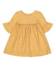 Mothercare Mustard Floral, Flute-Sleeve Dress