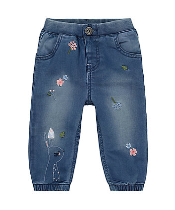 Mothercare Blue Flower And Bunny Embroidered Cuffed Jeans