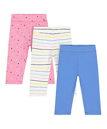 Mothercare Stripe, Blue And Heart Leggings - 3 Pack