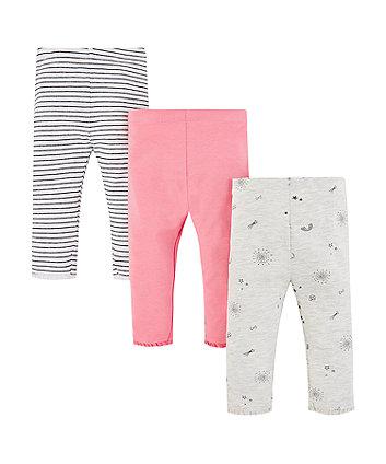 Mothercare White Striped Leggings - 3 Pack