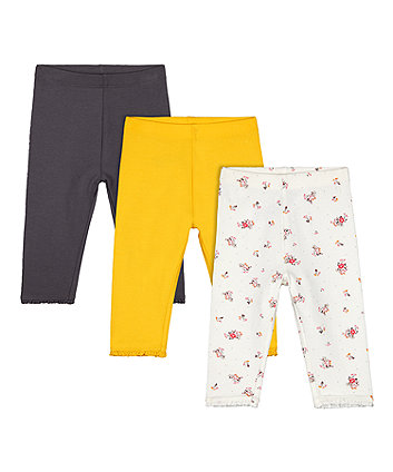 Mothercare Floral Leggings - 3 Pack