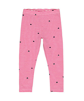 Mothercare Pink Stripe Hearts Leggings