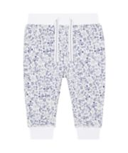 Mothercare White And Blue Ditsy Floral Joggers