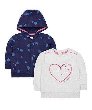 Mothercare Grey Sweat Top And Navy Heart Zip-Through Hoodie Set