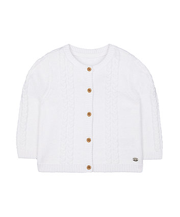 Mothercare White Cable Knit Cardigan
