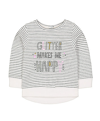 Mothercare Stripe Glitter Makes Me Happy Sweat Top