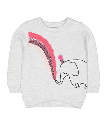 Mothercare Grey Elephant Knit Jumper
