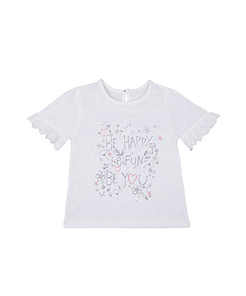 Mothercare White Be Happy Frill T-Shirt