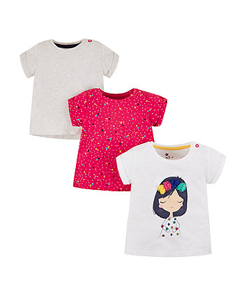 Mothercare Girl, Grey And Pink T-Shirts - 3 Pack