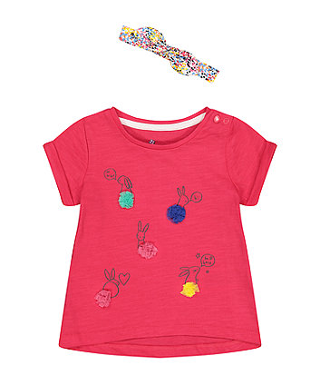 Mothercare Pink Bunny T-Shirt And Headband Set