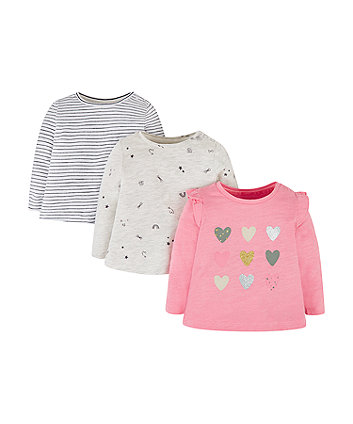 Mothercare Hearts, Stripe And Stars T-Shirts - 3 Pack