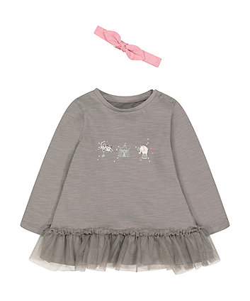 Mothercare Grey Peplem Hem Circus T-Shirt And Pink Headband Set