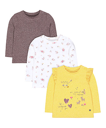Mothercare Yellow Woodland Animals, Grey And Floral T-Shirts - 3 Pack