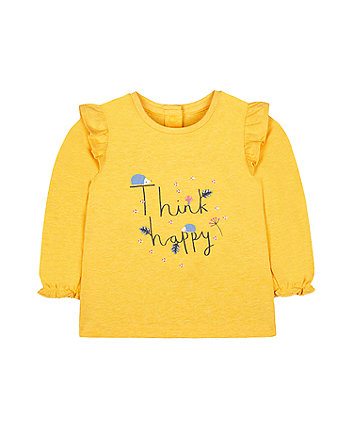 Mothercare Yellow Think Happy Hedgehog T-Shirt