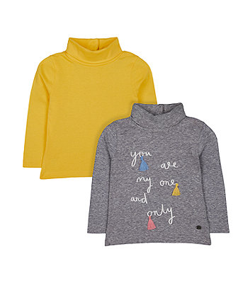Mothercare Grey One And Only And Mustard Rib Roll-Neck Jumpers - 2 Pack